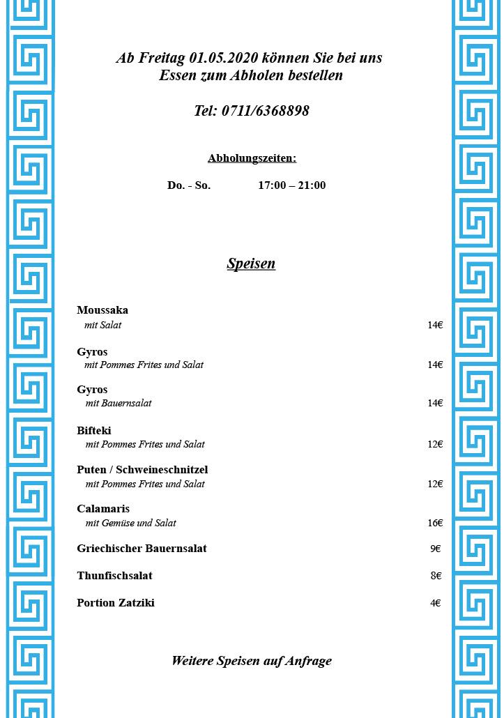 Speisekarte Abholung Taverne-Diogenes Stuttgart